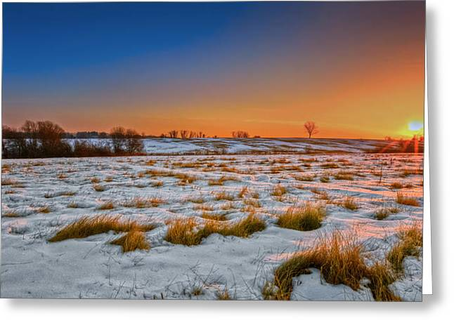 Winter Scenes Rural Scenes Greeting Cards - New England Winter Sunrise Greeting Card by Bill  Wakeley