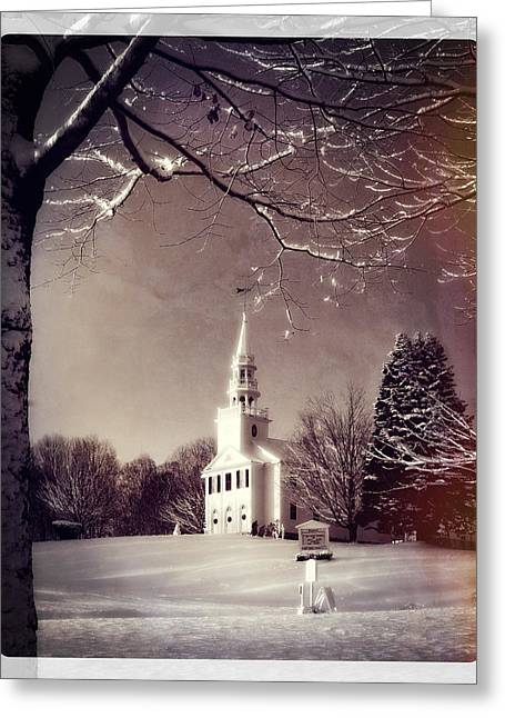 New England Snow Scene Greeting Cards - New England Winter Village Scene Greeting Card by Thomas Schoeller