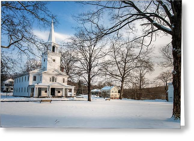 New England Village Greeting Cards - New England Winter Village Greeting Card by Thomas Schoeller