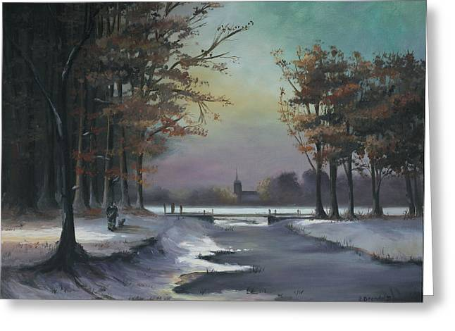 Kinkade Greeting Cards - New England Winter Walk Greeting Card by Cecilia  Brendel