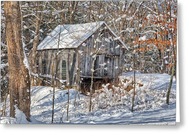 Snow On Barn Greeting Cards - New England Winter Woods Greeting Card by Bill  Wakeley