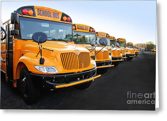 Bus Signs Greeting Cards - New Fleet Of International School Buses Greeting Card by Andee Design