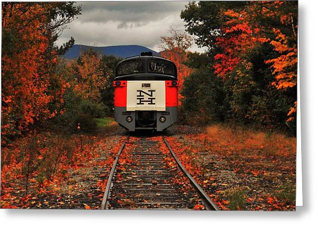 New Hampshire Leaves Greeting Cards - New Hampshire Autumn Train Greeting Card by Benjamin Yeager