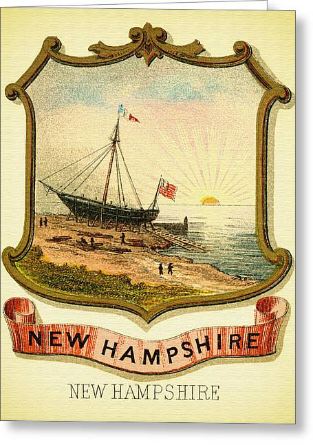 Illustrative Greeting Cards - New Hampshire Coat of Arms - 1876 Greeting Card by Mountain Dreams