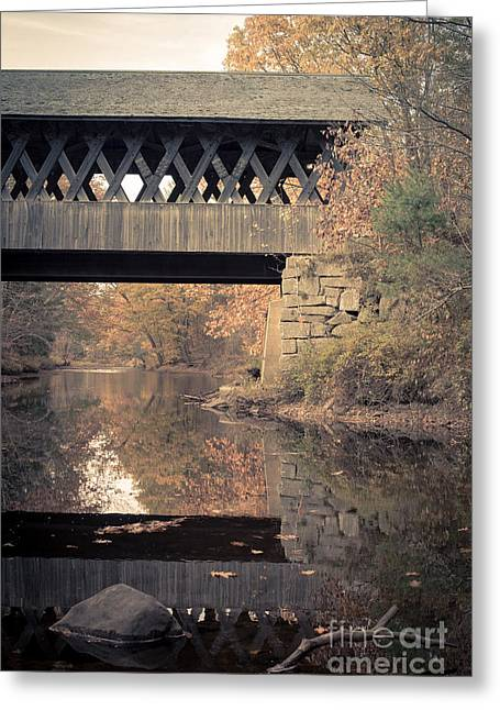 New Hampshire Leaves Greeting Cards - New Hampshire Covered Bridge Autumn Greeting Card by Edward Fielding