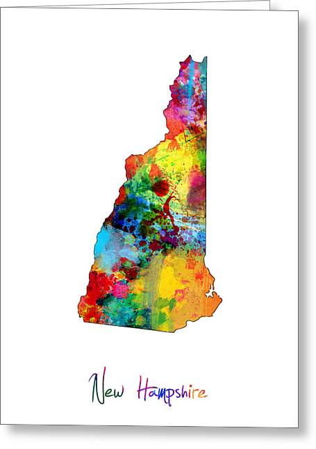 New Hampshire Greeting Cards - New Hampshire Map Greeting Card by Michael Tompsett