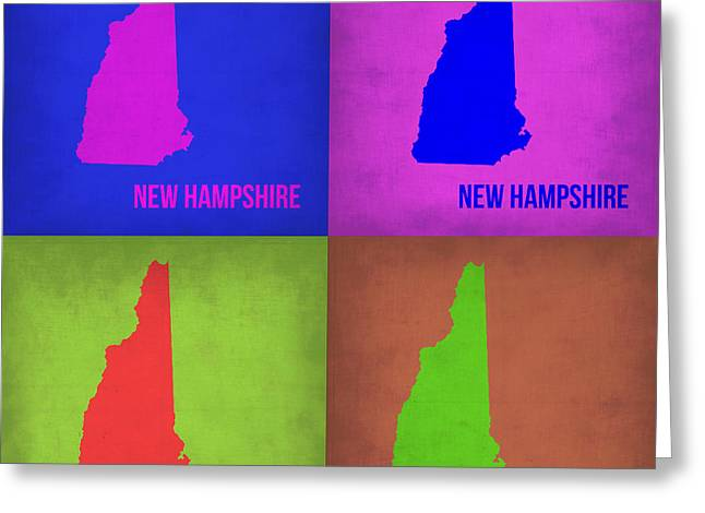 New Hampshire Greeting Cards - New Hampshire Pop Art Map 1 Greeting Card by Naxart Studio