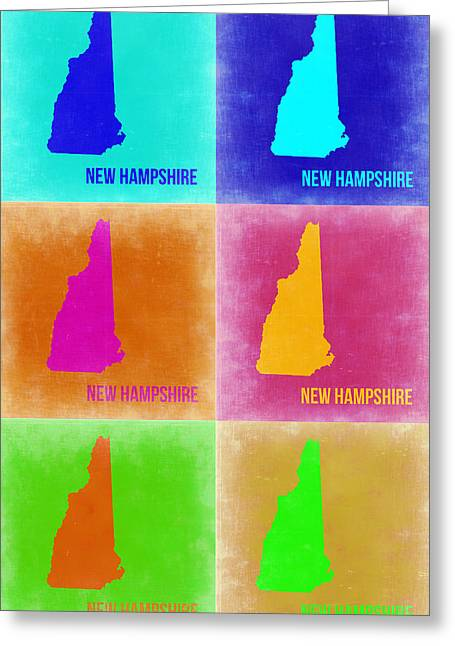 New Hampshire Greeting Cards - New Hampshire Pop Art Map 2 Greeting Card by Naxart Studio