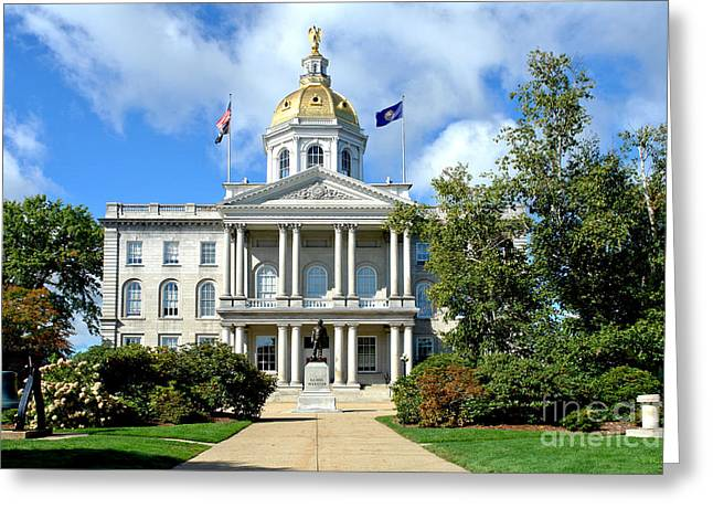 Revival Greeting Cards - New Hampshire State Capitol Greeting Card by Olivier Le Queinec
