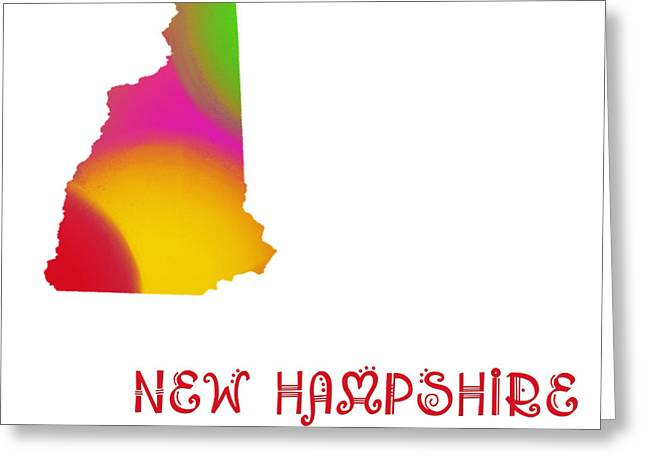 State Phrase Greeting Cards - New Hampshire State Map Collection 2 Greeting Card by Andee Design