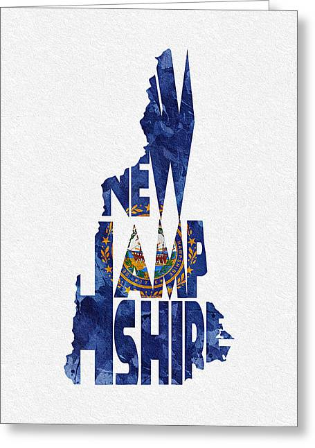 Mother Gift Greeting Cards - New Hampshire Typographic Map Flag Greeting Card by Ayse Deniz