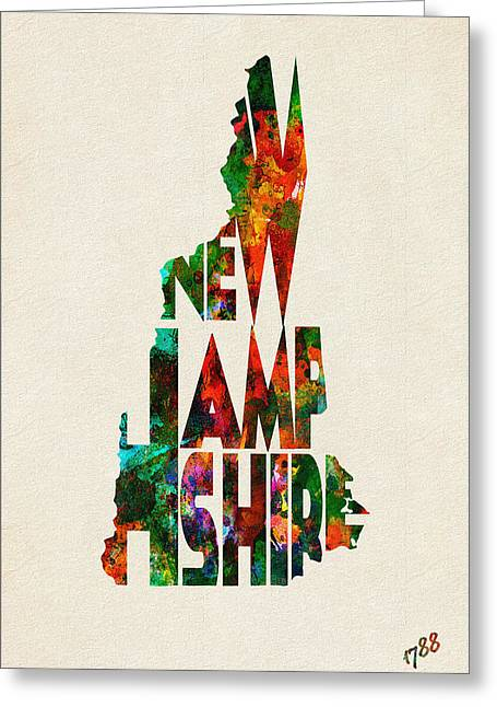 Homeland Greeting Cards - New Hampshire Typographic Watercolor Map Greeting Card by Ayse Deniz