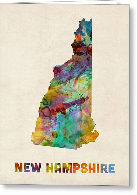 New Hampshire Greeting Cards - New Hampshire Watercolor Map Greeting Card by Michael Tompsett