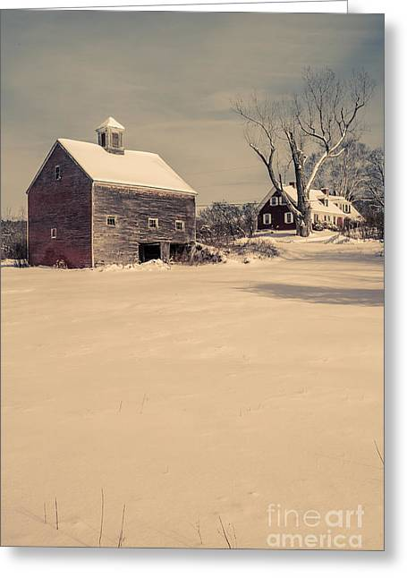 Rural Landscapes Greeting Cards - New Hampshire Winter Farm Scene Greeting Card by Edward Fielding