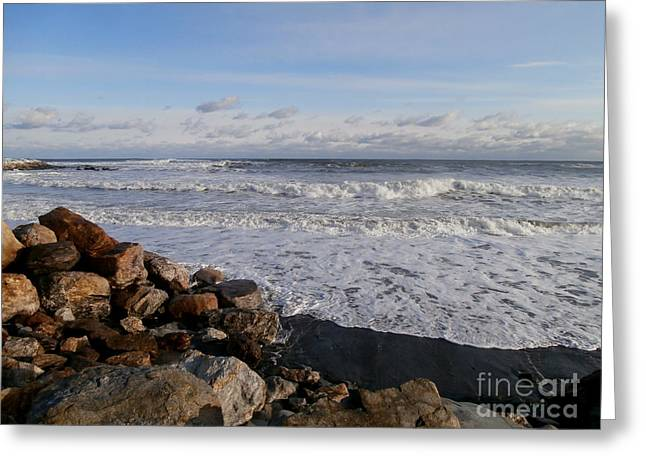 Storm Cloud On The Horizon Greeting Cards - Winter Beach Canvas Print Greeting Card by Eunice Miller