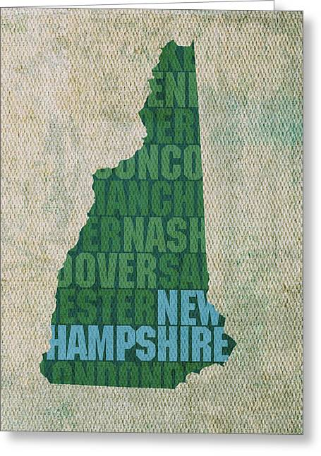 New Hampshire Greeting Cards - New Hampshire Word Art State Map on Canvas Greeting Card by Design Turnpike