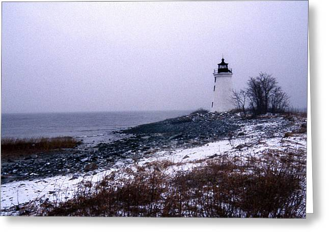 New Haven Harbor Lighthouse Greeting Card by Skip Willits
