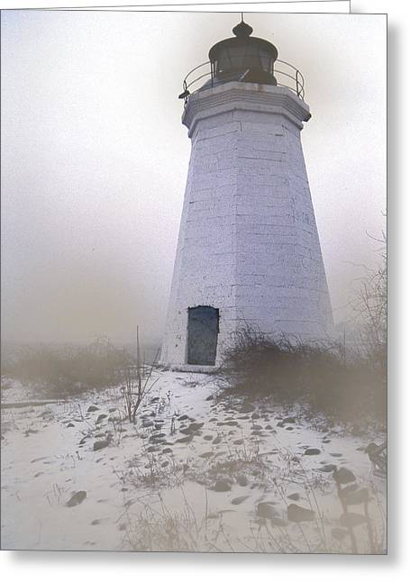 Ct Greeting Cards - Black Rock Harbor In The Fog Greeting Card by Skip Willits