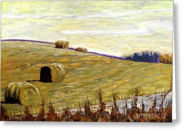 Bales Paintings Greeting Cards - New Haybales Greeting Card by Charlie Spear