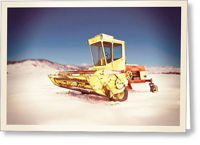 Winter Wheat Greeting Cards - New Holland 910 Windrower Greeting Card by Yo Pedro