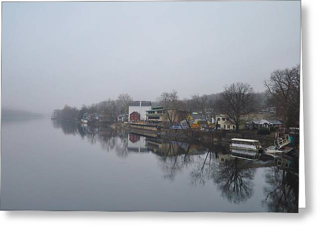 River View Digital Art Greeting Cards - New Hope River View on a Misty Day Greeting Card by Bill Cannon