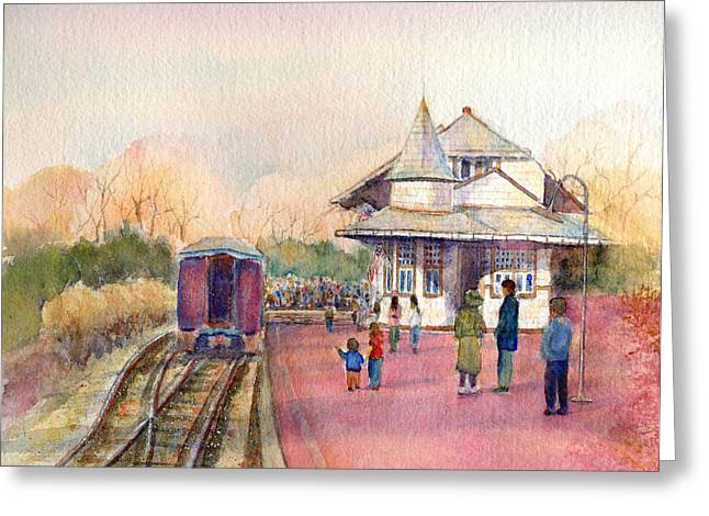 Caboose Paintings Greeting Cards - New Hope Station Greeting Card by Pamela Parsons
