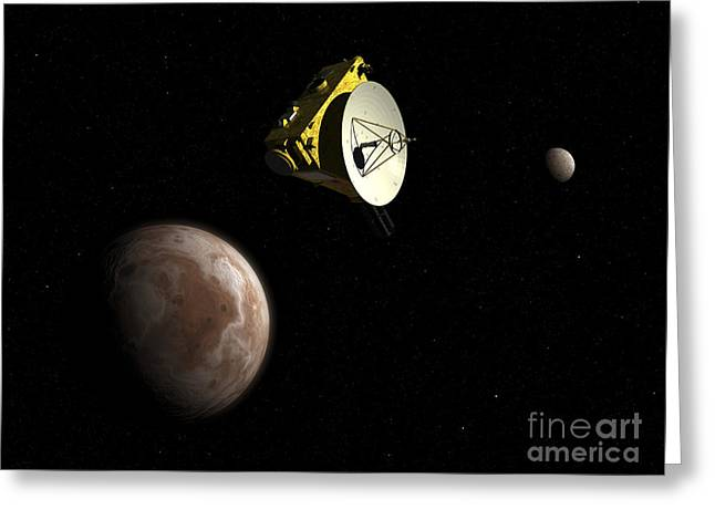 Space Probes Greeting Cards - New Horizons Spacecraft Flies By Dwarf Greeting Card by Walter Myers