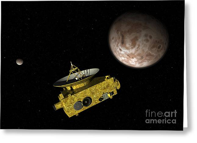 Space Probes Greeting Cards - New Horizons Spacecraft Over Dwarf Greeting Card by Walter Myers