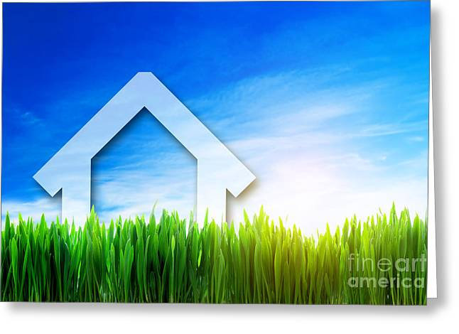 Rent House Greeting Cards - New house perspective on green sunny field Greeting Card by Michal Bednarek