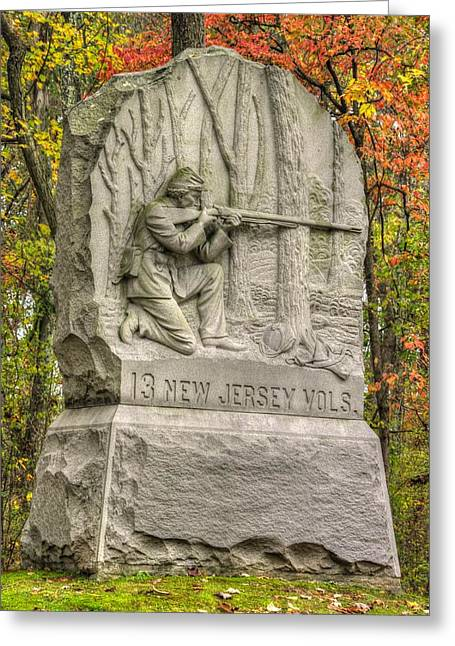 New Jersey At Gettysburg - 13th Nj Volunteer Infantry Near Culps Hill Autumn Greeting Card by Michael Mazaika