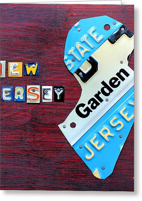 New Car Greeting Cards - New Jersey License Plate Map Greeting Card by Design Turnpike