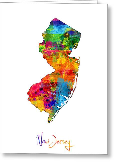 Cartography Digital Art Greeting Cards - New Jersey Map Greeting Card by Michael Tompsett