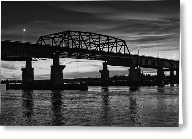 N.j. Greeting Cards - New Jersey Meadowlands Sunset BW Greeting Card by Susan Candelario