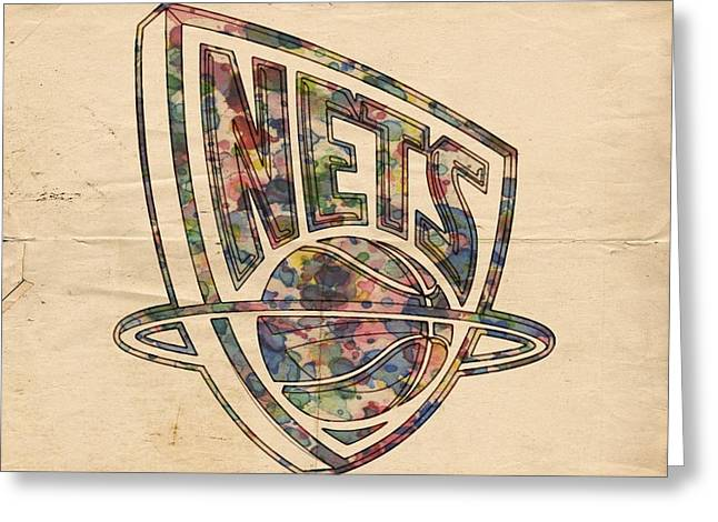 Slamdunk Digital Greeting Cards - New Jersey Nets Retro Poster Greeting Card by Florian Rodarte