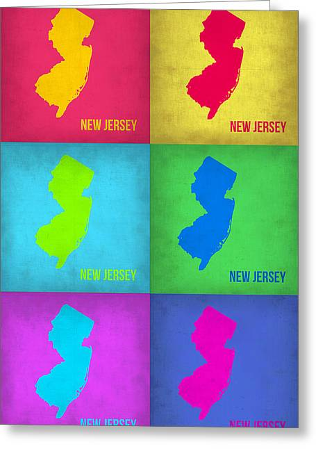 New Jersey Greeting Cards - New Jersey Pop Art Map 1 Greeting Card by Naxart Studio