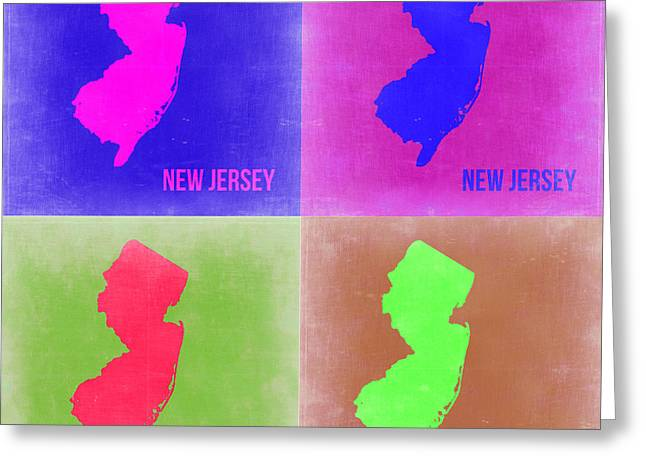 New Jersey Greeting Cards - New Jersey Pop Art Map 2 Greeting Card by Naxart Studio