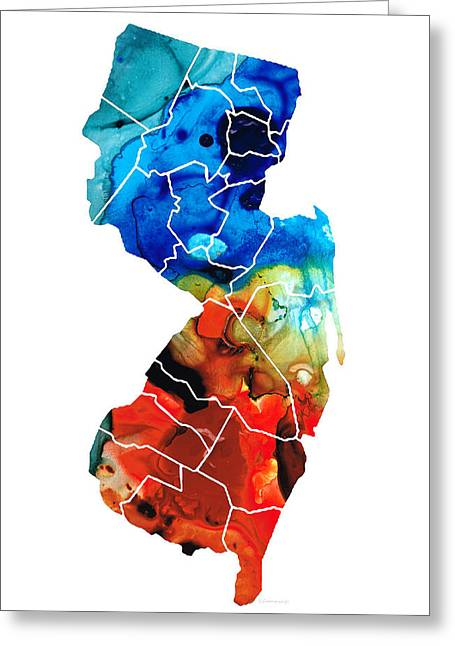 New Jersey Paintings Greeting Cards - New Jersey - State Map by Sharon Cummings Greeting Card by Sharon Cummings
