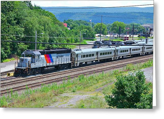 Jervis Greeting Cards - New Jersey Transit 4109 Greeting Card by Steven Richman