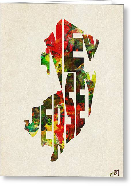Homeland Greeting Cards - New Jersey Typographic Watercolor Map Greeting Card by Ayse Deniz