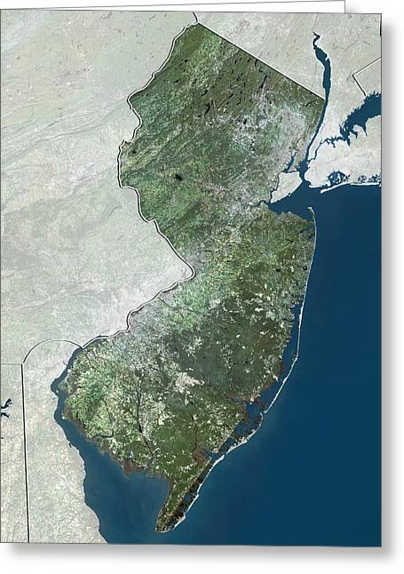 Northeastern United States Greeting Cards - New Jersey, USA, satellite image Greeting Card by Science Photo Library