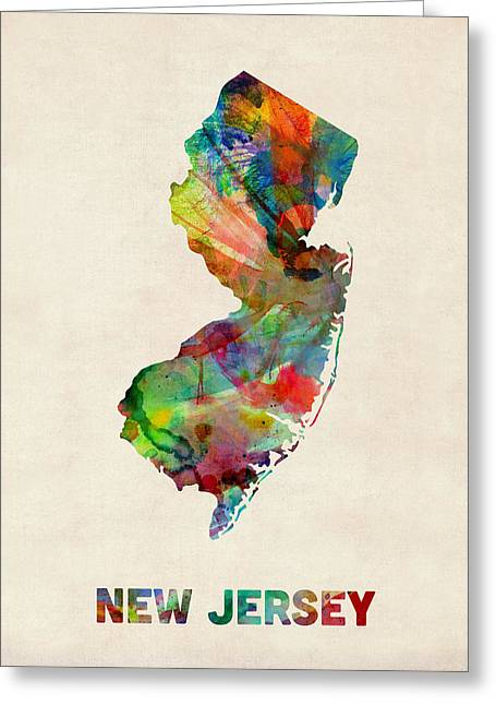 Cartography Digital Greeting Cards - New Jersey Watercolor Map Greeting Card by Michael Tompsett