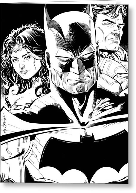 Justice League Greeting Cards - New JLA Greeting Card by Ken Branch