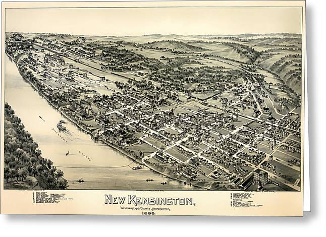 Illustrative Paintings Greeting Cards - New Kensington Pennsylvania 1896 Greeting Card by Mountain Dreams