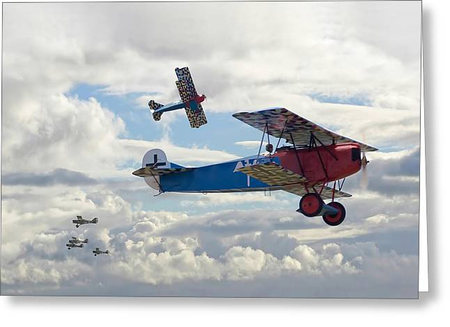 Triplane Greeting Cards - New Kid on the Block Greeting Card by Pat Speirs