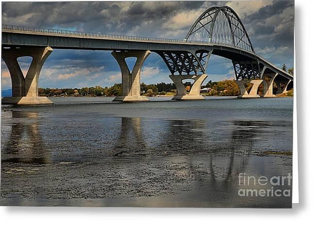 Lake Champlain Greeting Cards - New Lake Champlain Bridge Greeting Card by Adam Jewell