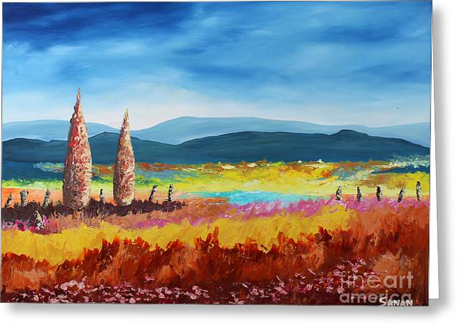Tuscan Hills Greeting Cards - New Land Greeting Card by Andrew Sanan