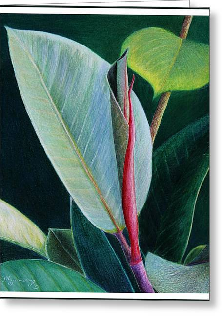 Emergence Paintings Greeting Cards - New leaf Emerging. Greeting Card by Mariarosa Rockefeller