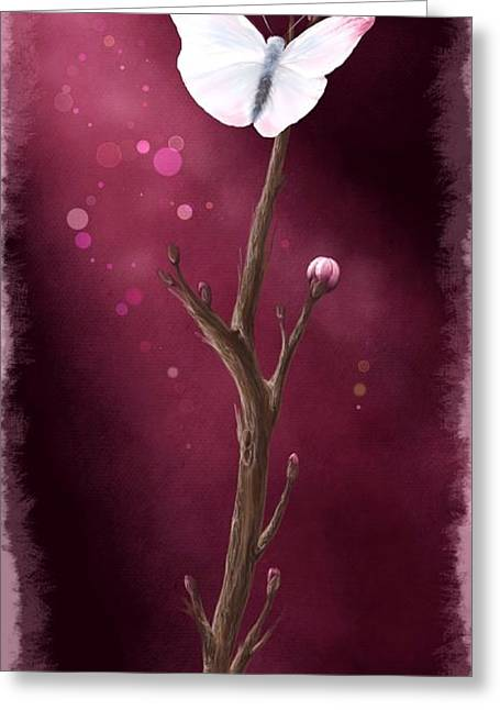Peach Flower Greeting Cards - New life Greeting Card by Veronica Minozzi