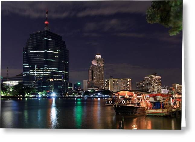 City Lights Greeting Cards - New Meets Old on the Chao Phraya River Greeting Card by Dave Storym