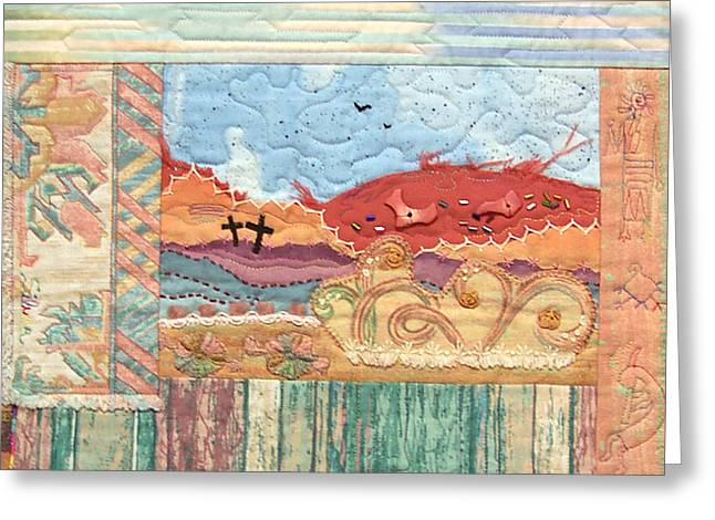 Machine Quilting Tapestries - Textiles Greeting Cards - New Mexican Lanscape Greeting Card by MtnWoman Silver